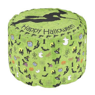 Halloween Themed Halloween Pop Art Collage on Lime Green Texture Pouf