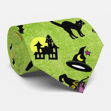Halloween Themed Halloween Pop Art Collage on Lime Green Texture Tie