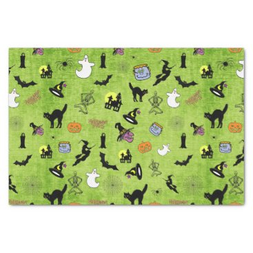 Halloween Themed Halloween Pop Art Collage on Lime Green Texture Tissue Paper