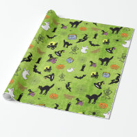 Halloween Pop Art Collage on Lime Green Texture Wrapping Paper