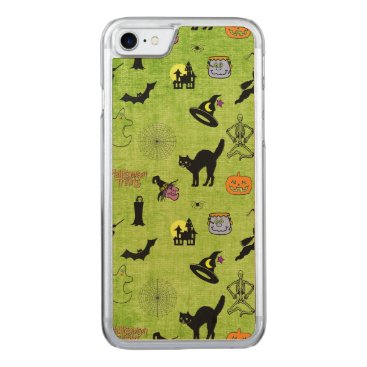 Halloween Themed Halloween Pop Art Collage on Textured Lime Green Carved iPhone 8/7 Case