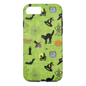 Halloween Themed Halloween Pop Art Collage on Textured Lime Green iPhone 8/7 Case
