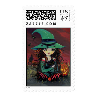 Halloween Postage Little Witch and Black Cat