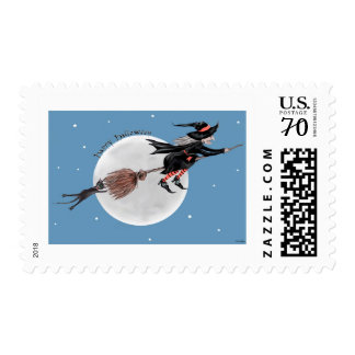 Halloween Postage Stamp-Witch and her black cat