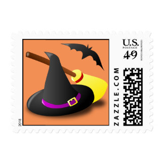 Halloween Postage Stamp with Witches Hat, Broom