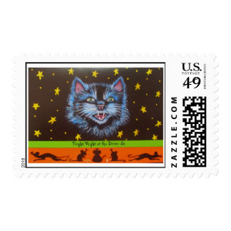 Halloween postage stamps,black,cat,mice,stars