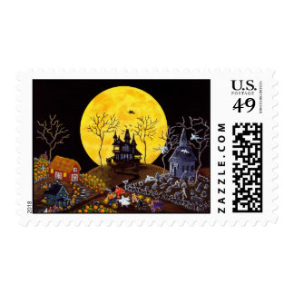Halloween postage stamps,churchyard,ghosts