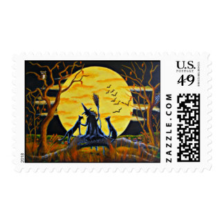 Halloween postage stamps,witch,black,cat,bats