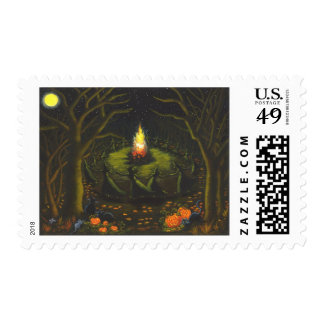 Halloween,postage,stamps,witches,bonfire,cats,mice Stamp