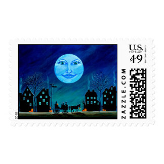 Halloween postage stamps,witches,horse,carriage