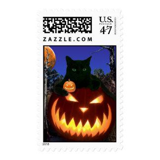 Halloween Postage with Black Cat & Pumpkins