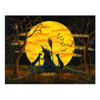 Halloween, postal, bruja, negro, gatos, palos, búh