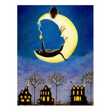 Halloween Themed Halloween ,postcard,black,cat,Salem,star,village Postcard