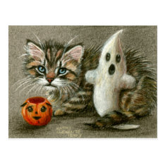 Halloween Postcard Cat Kitten Ghost Pumpkin Art at Zazzle
