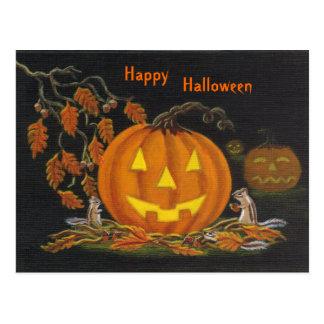 Halloween postcard chipmunk Jack-o-Lantern