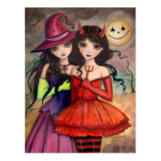 Halloween Postcard Gothic Witch and Devil Art