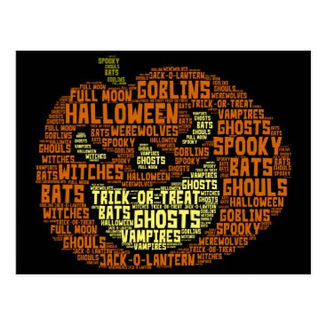 Halloween Themed HALLOWEEN POSTCARD, Pumpkin Word Cloud Image Postcard