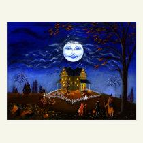 Halloween, postcard,skeleton,devil,witch,ghost postcard