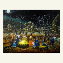 Halloween postcard, witches around cauldron postcard