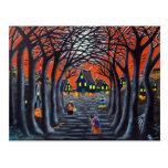 Halloween postcard,witches,village,cauldron,snake