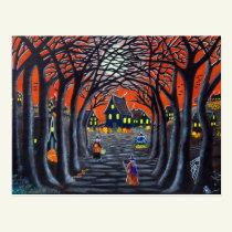 Halloween postcard,witches,village,cauldron,snake postcard
