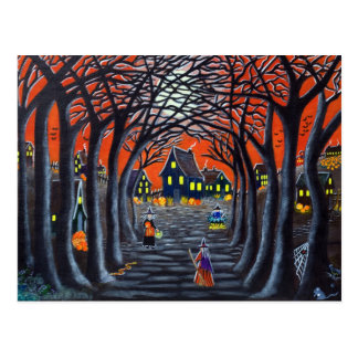 Halloween postcard,witches,village,cauldron,snake postcard