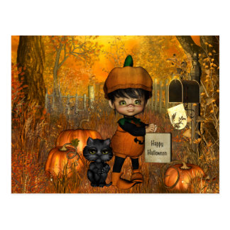 Halloween Postcard with little boy and pumpkins