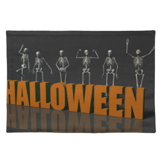 Halloween Postcard with Skeleton Group Crowd Movin Cloth Placemat