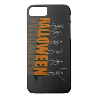 Halloween Postcard with Skeleton Group Crowd Movin iPhone 7 Case