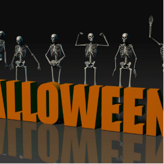 Halloween Postcard with Skeleton Group Crowd Movin Statuette