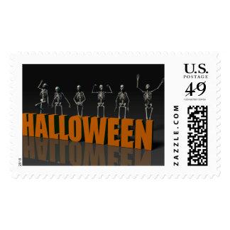 Halloween Postcard with Skeleton Group Crowd Postage