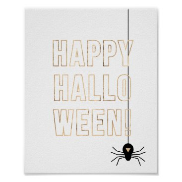 Halloween Themed Halloween Poster - Black & Gold | Happy Halloween