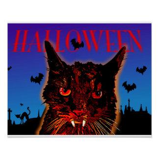 HALLOWEEN poster cats and bats