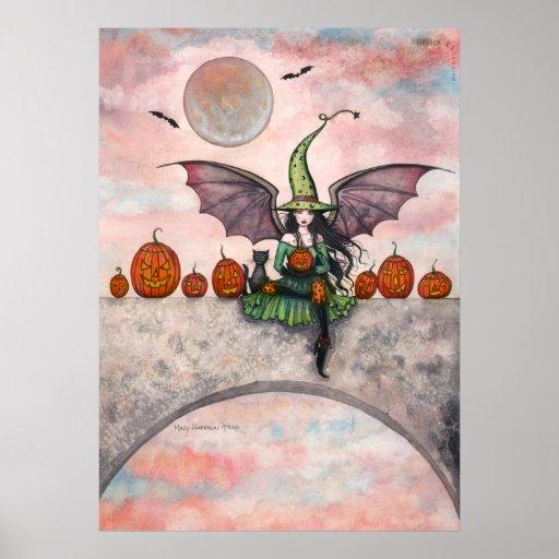 Halloween Poster Witch Cat Jack-O-Lanterns