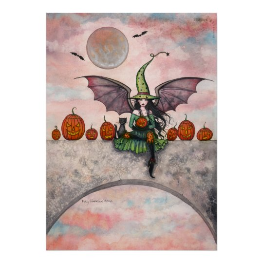 Halloween Poster Witch Cat Jack-O-Lanterns