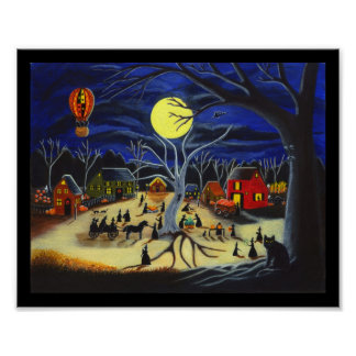 Halloween poster witches horse carriage black cats