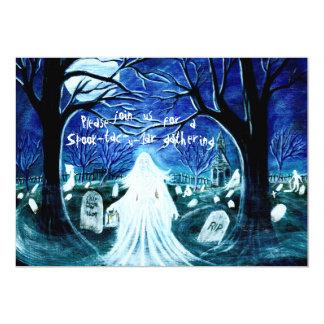 Halloween,pqrty,invitation,ghosts,graveyard,church 5x7 Paper Invitation Card