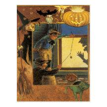 Halloween Pranksters Vintage Postcard