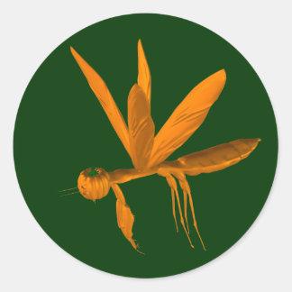 Halloween Praying Mantis Round Stickers