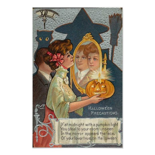 Halloween Precautions Vintage Card Poster