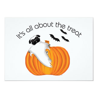 Halloween Pug 5x7 Paper Invitation Card