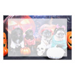 Halloween - Pug and Pom X - Bear Pearl Bruno Personalized Stationery