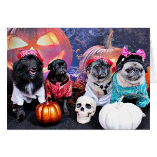 Halloween - Pug - Bruno Pearl Bear Ms Wiggens Card