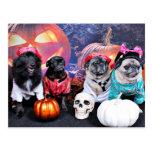 Halloween - Pug - Bruno Pearl Bear Ms Wiggens Postcard