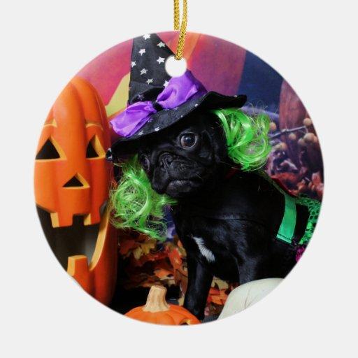 Halloween - Pug - Daisy Mae Double-Sided Ceramic Round Christmas Ornament