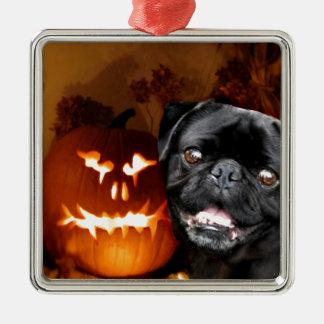 Halloween Pug Dog Metal Ornament