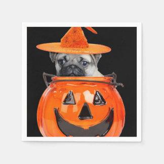 Halloween pug dog napkin