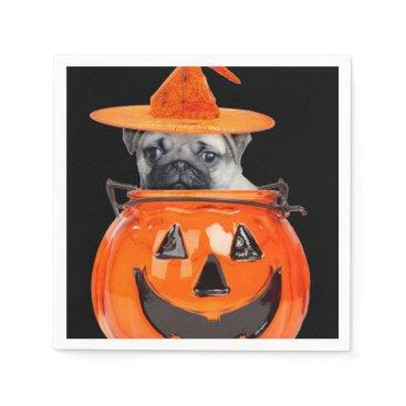 Halloween Themed Halloween pug dog napkin