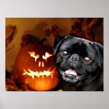 Halloween Themed Halloween Pug Dog Poster