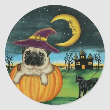 Halloween Themed Halloween Pug Dog Stickers
